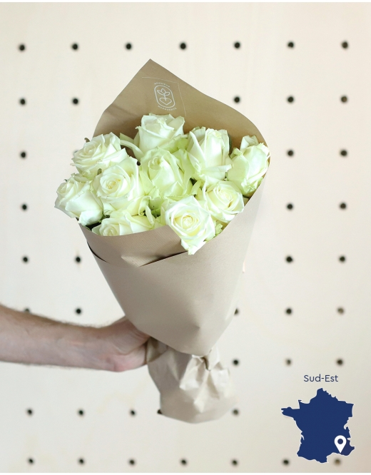 Botte de 10 Roses blanches d'exception - 02